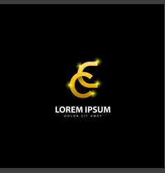Gold letter c logo cc letter design with golden vector
