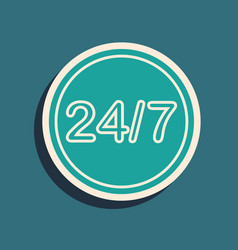 Green clock 24 hours icon isolated on blue vector