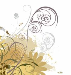 grunge floral swirls vector image vector image