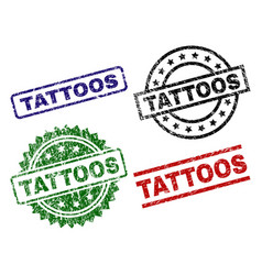 Grunge textured tattoos seal stamps vector