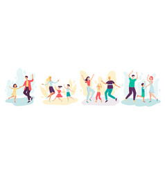 happy cartoon dancing family set on isolated vector image