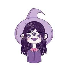 happy halloween celebration girl with hat witch vector image