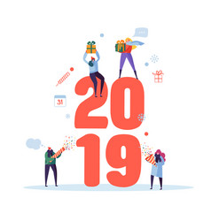 happy new year 2019 greeting card flat people vector image