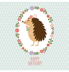 Hedgehog with flowers Greeting card vector