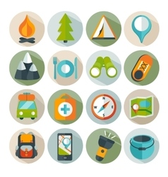 Hiking and outdoor icon set vector