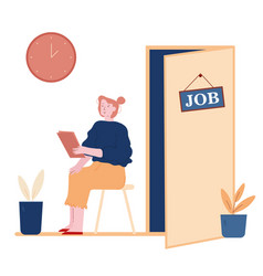 Hr recruitment concept candidate woman with cv in vector