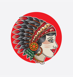 Indian girl head flash tattoo vector