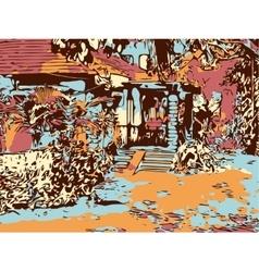 Indian landscape digital graphic artwork in goa vector