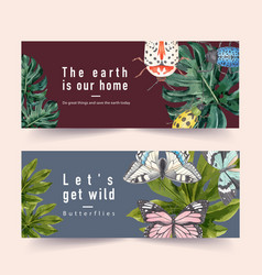 Insect and bird banner design with beetle vector