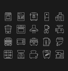Kitchen appliance simple line icons set vector