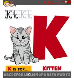 Letter k worksheet with cartoon kitten vector
