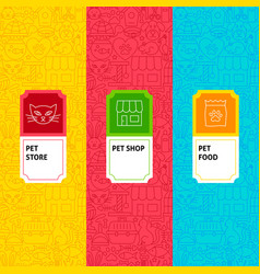 line pet shop package labels vector image