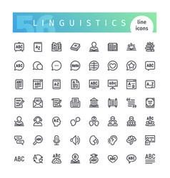Linguistics line icons set vector