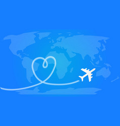 love travel concept airplane leaving behind a vector image