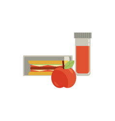 lunchbox with snacks vegetables vector image