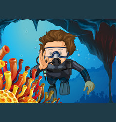 man doing scuba diving under the ocean vector image