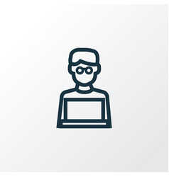 Man with laptop outline symbol premium quality vector