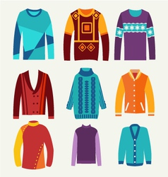 Mens knitted sweaters icon set vector