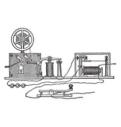 morse apparatus circuit and battery vintage vector image