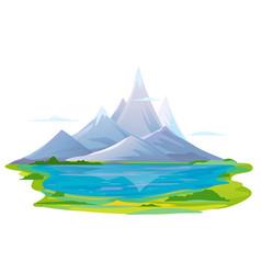 Mountain lake travel vector