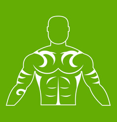 Muscular man with tattoo icon green vector