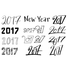 New year 2017 lettering set vector