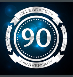 ninety years anniversary celebration with silver vector image