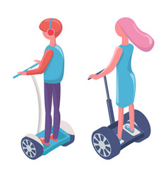 people driving on electric transport segway vector image