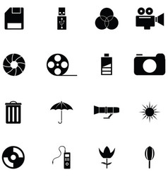 photographic equipment icon set vector image