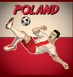 Poland soccer player with flag background vector