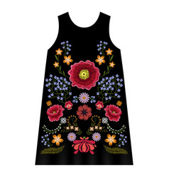 Poppy embroidery dress vector