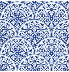 Porcelain blue pattern vector
