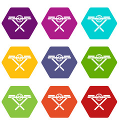 power saw bench icon set color hexahedron vector image