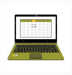 Realistic laptop display company or scientific vector
