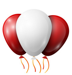 Realistic white red balloons with ribbons vector