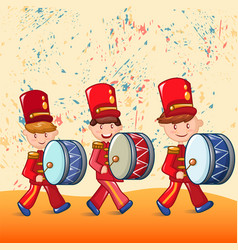 red drummers concept background cartoon style vector image