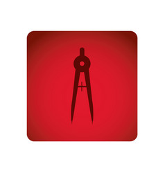 Red emblem compass school tools icon vector