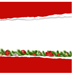 red ripped paper with garland vector image
