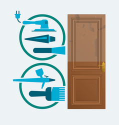 restore a wood door concept vector image