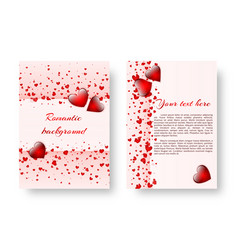 Romantic pamphlet with red hearts vector