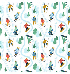 seamless pattern with young people at mountain vector image