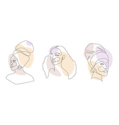 Set african woman faces in one line drawing vector