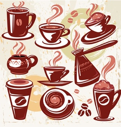 set of coffee symbols vector image