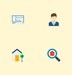 set of property icons flat style symbols with good vector image