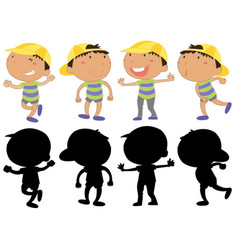 Set of young boy character vector