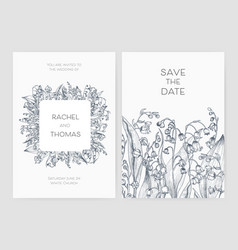 set wedding party invitation and save date vector image
