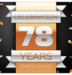 Seventy eight years anniversary celebration golden vector