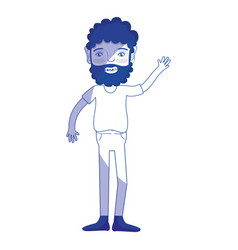 Silhouette man with beard and casual clothes vector
