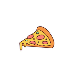 Slice pizza with melted cheese cartoon icon vector