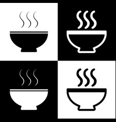 soup sign black and white icons and line vector image